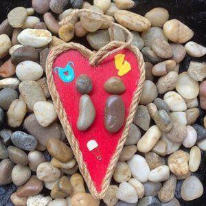 Mother pregnancy Stones Handmade heart Wood decor